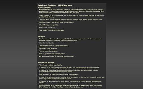 Screenshot of Terms Page aboutasiatravel.com - Tour Details and Conditions - captured Oct. 2, 2018