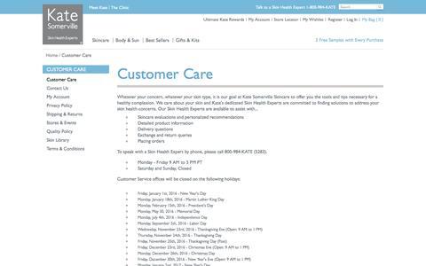 Screenshot of Contact Page katesomerville.com - Customer Care - captured April 20, 2016