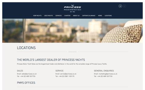 Screenshot of Contact Page Locations Page princess.co.uk - Locations - Princess Motor Yacht Sales - captured Oct. 23, 2014