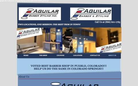 Screenshot of About Page aguilarbarberstyling.com - Barber & Beauty Services, Flat Tops, Fades, Shaves & More - captured Oct. 4, 2014