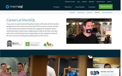 Screenshot of Jobs Page memsql.com - Work at MemSQL - MemSQL Careers - captured Nov. 18, 2015