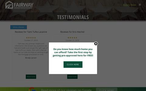 Screenshot of Testimonials Page yourwaymortgage.com - Testimonials - The Kris Heichel Team Powered by Fairway Independent Mortgage Corporation - captured Nov. 2, 2018