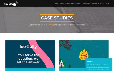 Screenshot of Case Studies Page cloudar.be - Case Studies | We Are Cloudar - captured July 17, 2018