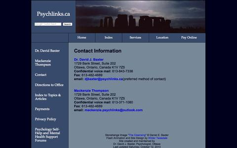 Screenshot of Contact Page psychlinks.ca - Ottawa Psychologists, Counsellors, and Psychotherapists - Counselling, Psychotherapy, Assessment -  Contact Information - captured Sept. 23, 2014