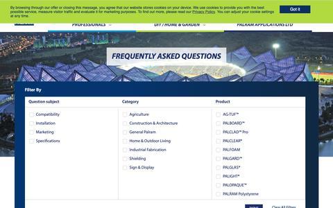 Screenshot of FAQ Page palram.com - FREQUENTLY ASKED QUESTIONS | Palram - captured Nov. 9, 2018