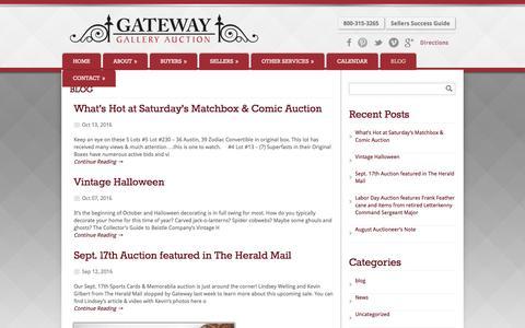Screenshot of Blog gatewayauction.com - Blog | Gateway Gallery Auction - captured Oct. 28, 2016