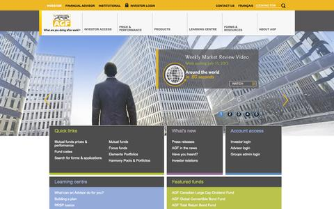 Screenshot of Home Page agf.com - AGF.com - Mutual funds, Managed asset programs, Affluent investment solutions - captured Aug. 5, 2015