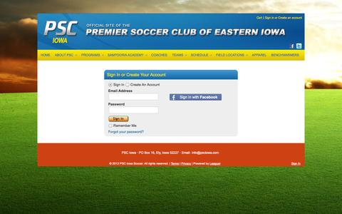 Screenshot of Login Page leaguer.org - PSC Iowa Soccer - Account - captured Oct. 9, 2014