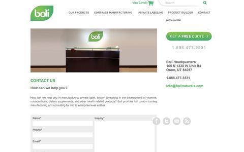 Screenshot of Contact Page bolinaturals.com - Magento Commerce - captured June 7, 2018