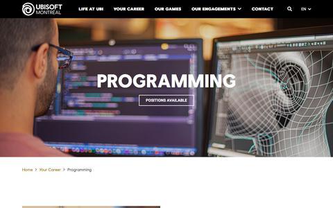 Screenshot of Jobs Page ubisoft.com - Programming - Ubisoft Montréal - captured Nov. 8, 2019