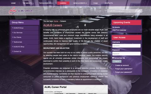 Screenshot of Jobs Page almlgroup.com - Careers - Job Categories - captured Feb. 4, 2016