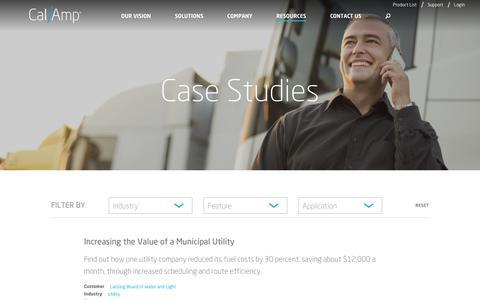 Screenshot of Case Studies Page calamp.com - Case Studies - CalAmp - captured April 9, 2018