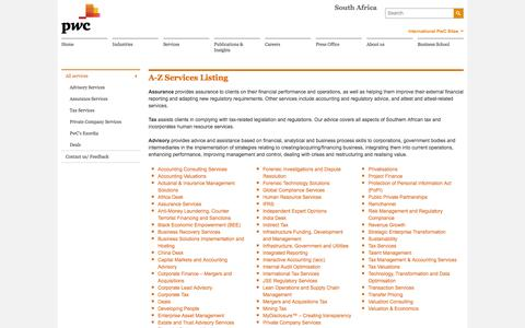 A-Z Services Listing - PwC South Africa