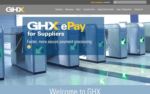 Screenshot of Home Page ghx.com - Healthcare Supply Chain Management | Materials | Inventory | SCM | GHX - captured Oct. 7, 2017