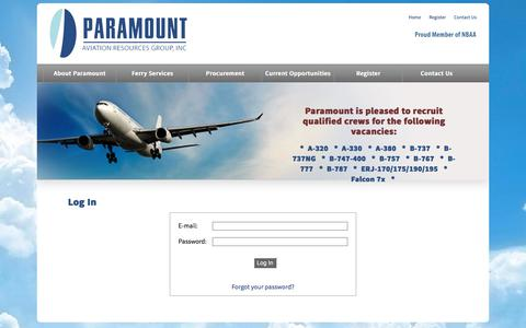 Screenshot of Login Page paramountarg.com - Paramount Aviation - captured July 14, 2017