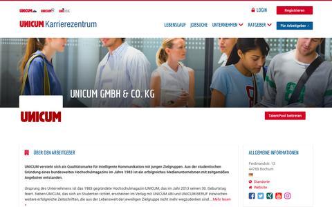 Screenshot of Jobs Page unicum.de - UNICUM GmbH & Co. KG | UNICUM Karrierezentrum - captured Sept. 22, 2018