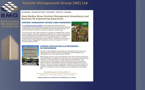 Screenshot of Case Studies Page resultsmanagement.co.nz - Case Studies Show Contract Management Consultancy and Business Re-Engineering Experience - captured Oct. 26, 2014