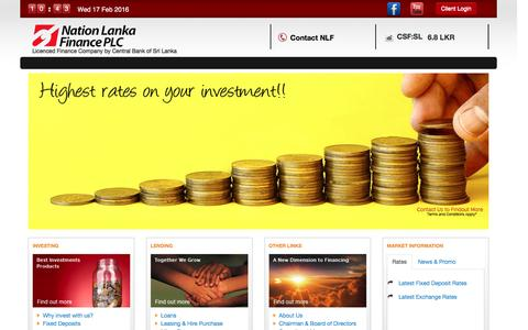 Screenshot of Home Page nlfplc.com - Welcome to Nation Lanka Finance - captured Feb. 17, 2016