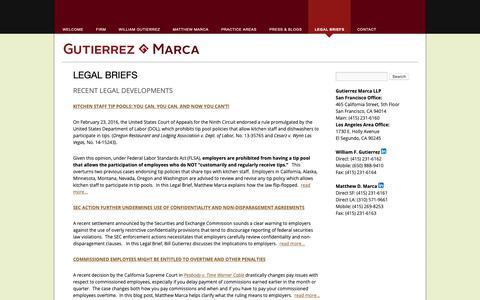 Screenshot of Blog gutierrez-marca.com - Legal Briefs | Gutierrez Marca LLP - captured Sept. 30, 2018