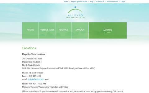 Screenshot of Locations Page allevioclinic.com - Allevio Pain Management Clinic  » Locations - captured Oct. 4, 2014
