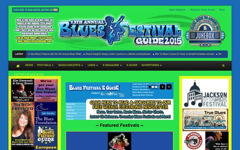 Screenshot of Home Page bluesfestivalguide.com - Blues Festival Guide Magazine and Online Directory of Blues Festivals - captured Jan. 27, 2015