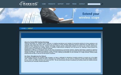 Screenshot of About Page hawkingtech.com - About Hawking Technology - captured Sept. 23, 2014