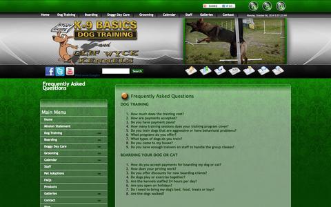 Screenshot of FAQ Page k9basics.com - FAQs - captured Oct. 6, 2014
