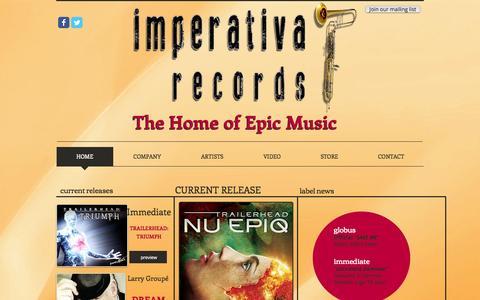 Screenshot of Home Page imperativarecords.com - Imperativa Records | The Home of Epic Music - captured Sept. 30, 2014