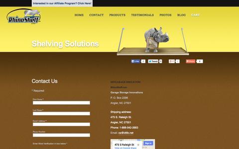 Screenshot of Contact Page diygarageshelf.com - Contact DIYGarageShelf.com - Garage Storage Shelving Systems - captured Oct. 5, 2014