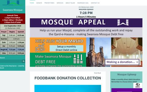 Screenshot of Home Page swanseamosque.org - Swansea Mosque - Mosg Abertawe - Swansea Mosque - captured Sept. 21, 2018