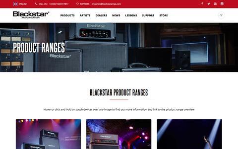Screenshot of Products Page blackstaramps.com - Blackstar Product Ranges  | Blackstar Amplification - captured Oct. 25, 2016