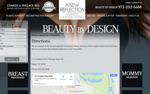 Screenshot of Maps & Directions Page drwallace.com - Directions | A New Reflection Cosmetic Surgery Center - captured Nov. 1, 2016