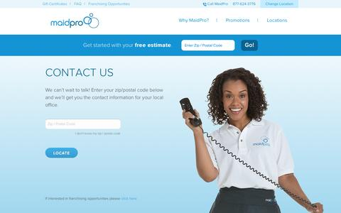 Screenshot of Contact Page maidpro.com - Contact MaidPro l Cleaning Service, House Cleaning - captured Sept. 19, 2014
