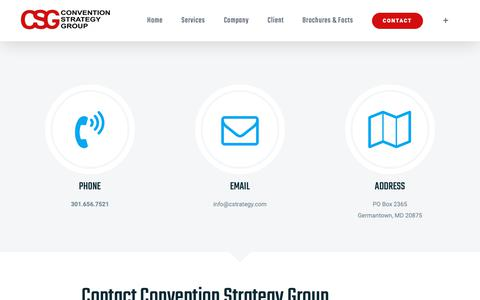Screenshot of Contact Page conventionstrategy.com - Contact - Convention Strategy Group - captured Sept. 29, 2018