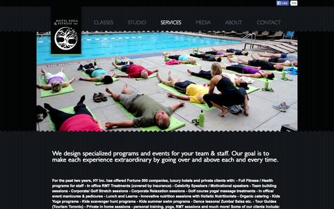 Screenshot of Services Page hotelyoga.ca - Hotel Yoga and Fitness > Services - captured Oct. 3, 2014