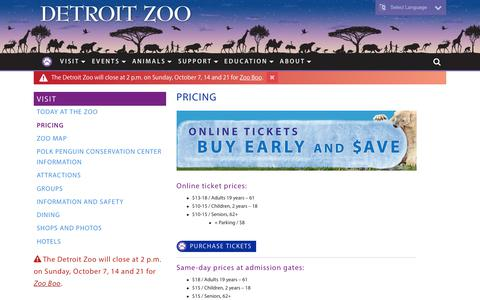 Screenshot of Pricing Page detroitzoo.org - Pricing - Detroit Zoo - captured Sept. 23, 2018