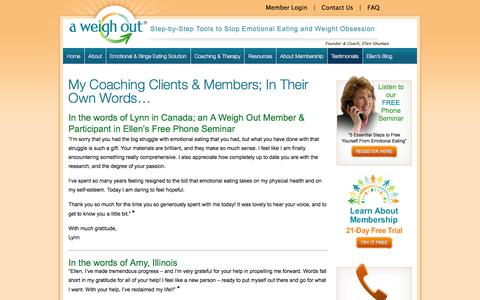 Screenshot of Testimonials Page aweighout.com - My Coaching Clients & Members; In Their Own Words... - A Weigh Out - captured Nov. 14, 2016