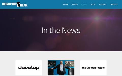 Screenshot of Press Page disruptorbeam.com - In The News — Disruptor Beam - captured April 29, 2016