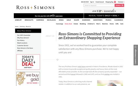 Screenshot of About Page ross-simons.com - Directory : About Us | Ross-Simons - captured Sept. 22, 2019