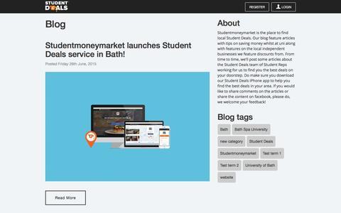 Screenshot of Blog studentdeals.io - Blog   Studentmoneymarket.com - captured Feb. 25, 2016