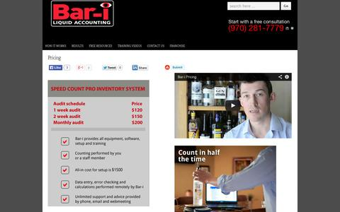 Screenshot of Pricing Page bar-i.com - Bar Inventory Management - Pricing | Bar - i - captured Oct. 5, 2014