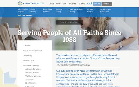 Screenshot of Testimonials Page catholichealthservices.org - Testimonials : Catholic Health Services - captured Oct. 27, 2016