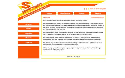 Screenshot of Home Page About Page sourceways.co.uk - SOURCEWAYS Home - captured Sept. 30, 2014