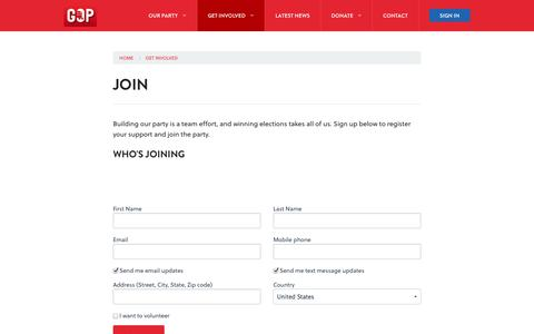 Screenshot of Signup Page harriscountygop.com - Join - Harris County Republican Party - captured Oct. 2, 2014