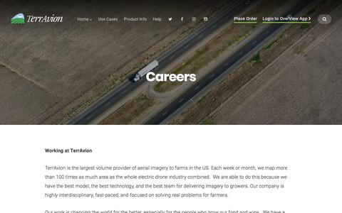 Screenshot of Jobs Page terravion.com - Careers – TerrAvion - captured Nov. 1, 2017