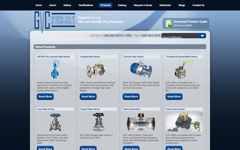 Screenshot of Products Page globalvalveandcontrols.com - Trunnion Ball Valves, API 6D Valves, Pipeline Valves, Through Conduit Gate Valve, Double Block and Bleed Valves - Global Valve & Controls - captured Sept. 30, 2014