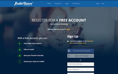 Screenshot of Signup Page radiotunes.com - RadioTunes | Enjoy amazing Free Internet Radio stations - captured Sept. 21, 2018