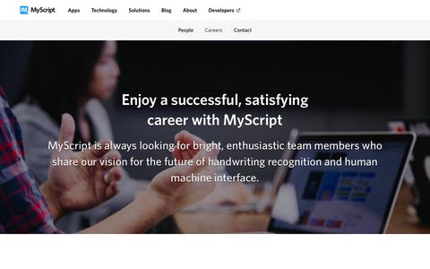 Screenshot of Jobs Page myscript.com - Careers | MyScript - captured Oct. 6, 2018