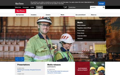 Screenshot of Press Page riotinto.com - Rio Tinto latest news - Rio Tinto - captured June 9, 2018