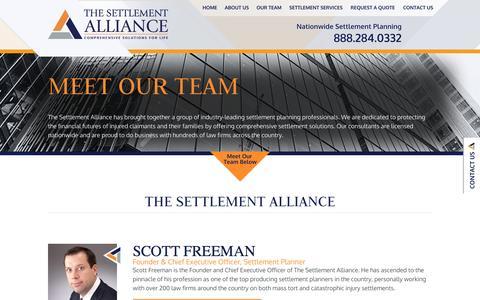 Screenshot of Team Page settlement-alliance.com - About The Settlement Alliance | Settlement Planning | Our Team - captured Oct. 6, 2014